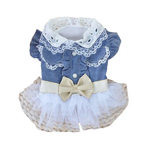 Roblue Hunde Kleider Haustier Kostüme Blau Denim Garn Rock Schleife und Spitze Welpen Sommer Kleidung