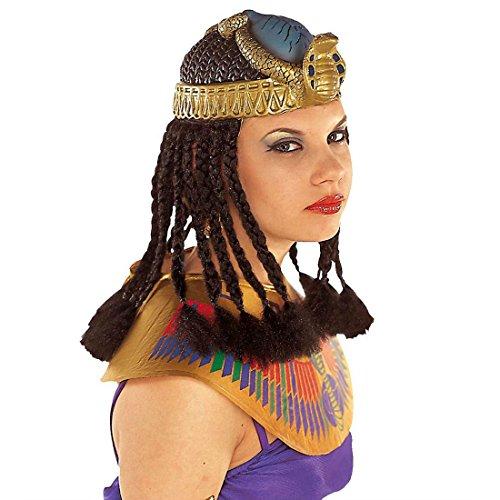 NET TOYS Cleopatra Kopfschmuck mit Haaren Ägypten Kopfbedeckung Pharaonen Kopf Schmuck Ägypterin Perücke Schlangen Accessoire Antike Kostüm Zubehör (Pharao Kopfbedeckung Kostüm)