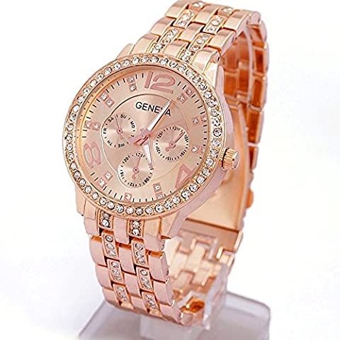 Contever® Mode féminine / unisexe Genève Bling Quartz Acier inoxydable Cristal Montre (Contenant une pile bouton)-- Rose