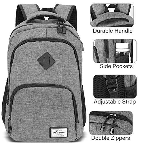 AUGUR Zaino Laptop, Zaion Porta PC Portatile da 15.6 Pollici Zaino Uomo Zaino Scuola con Porta USB,35L(Grigio) - 3