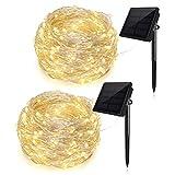 Ankway Guirlandes solaires féeriques,200 LED IP65 imperméabilisent des lumières de fil de cuivre extérieures,Parfait pour Garden Patio House Home Party Décor (blanc chaud, paquet de 2)