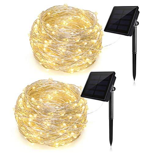 Ankway Luci stellari solari cavalcabili,200 LED IP65 Impermeabile Luci esterne in filo di rame,Garden Patio House Home Decorazioni per l\'albero di Natale per matrimoni (bianco caldo, 2 pezzi)