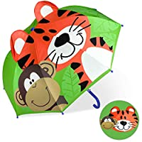 CAPMESSO Kids Umbrella 3D Dome Umbrellas with Handle Windproof Stick Umbrella for Girls Safety Opening 3 to 6 Years