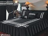 Drap-housse Super King Size Couvre-lit Glamour Noir avec garniture argent/Ruban, Couvre-lit matelassé et couvertures d'oreiller à volants, Très Profond 55,9cm Frivolité, Luxueux 100% coton égyptien 200fils