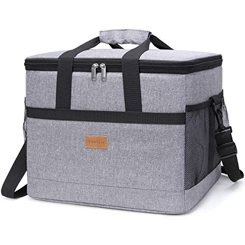Lifewit 30L (50-Can) Soft Cooler Bag with Hard Liner, Large Insulated Picnic Lunch Bag Box Soft-Sided Cooling Bag for Camping/BBQ/Family Outdoor Activities (Grey 30L)