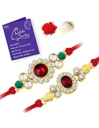 Sukkhi Beguiling Gold Plated Kundan Rakhi Combo (Set of 2 ) with Roli Chawal and Raksha Bandhan Greeting Card For Men