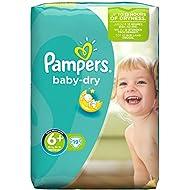 Pampers Baby Dry Windeln, Größe 6+ (Extragroß), 16+ kg, 4er Pack (4 x 19 Windeln)