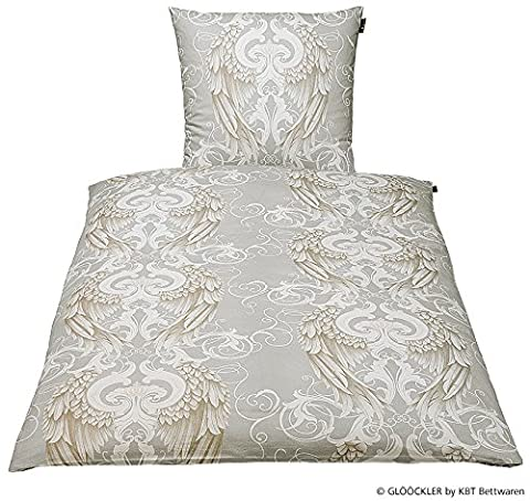 GLÖÖCKLER by KBT Bettwaren 4001626021222 Bettwäsche-Set Engel, 80 x 80 und 135 x 200 cm Baumwolle-Satin, silber