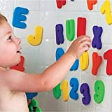 XISHU Giocattoli educativi per bambini Interessante Prendi un bagno Animale Alfabeto inglese Digitale Adesivi di gomma piuma 36 compresse , bathroom stickers