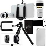 CamKix® Kamera Objektiv Kit für iPhone 6/6S–inkl. 8x Teleobjektiv/Fisheye Objektiv/2in 1Makro-Objektiv und Weitwinkel Objektiv/Stativ/Handy Halter/Hard Case/Samtbeutel/Reinigungstuch