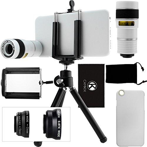 iPhone 6 / 6S Kamera-Objektiv-Set mit einem 8x Teleobjektiv / Fisheye Objektiv / 2 in 1 Makroobjektiv und Weitwinkel-Objektiv / Mini-Stativ / Universal-Halterung / Hard Case für Apple iPhone 6 / 6S / Samt Handytasche / CamKix Mikrofaser Reinigungstuch – Super Zubehör und Anbaugeräte für Ihre iPhone 6 / 6S Kamera