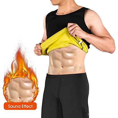 Chaleco/Pantalones cortos Sauna Hombre Neopreno NOVECASA Trajes Sauna Body Shaper Transpirar Gimnasia para Sudoración, Quema Grasa, Faja Abdome Adelgaza (M, Negro)