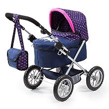 Bayer Design- Passeggino per Bambole, Trendy, Carrozzina, Regola, Colore Motivo Unicorno/Rosa/Blu, 13054AA