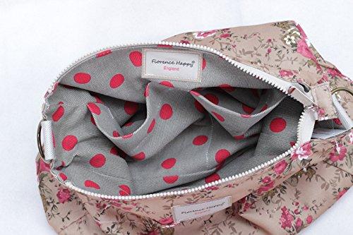 Florence Happy @ England - Borsa a tracolla reversibile messaggero, in tela, chiusura a zip, motivo con rose e gufi Grey Red Spot / Earthy Rose