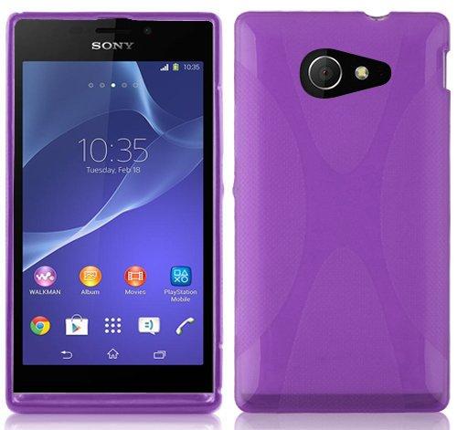 Preisvergleich Produktbild Cadorabo Hülle für Sony Xperia M2 Hülle in Handyhülle aus flexiblem TPU Silikon im X-Line Design Silikonhülle Schutzhülle Soft Back Cover Case Bumper Flieder Violett