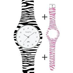 Naughty Watch Montres Femme –Set Damenuhren, Silikon, Uhr mit Swarovski Kristallen + 2Armbänder mit Zebramuster