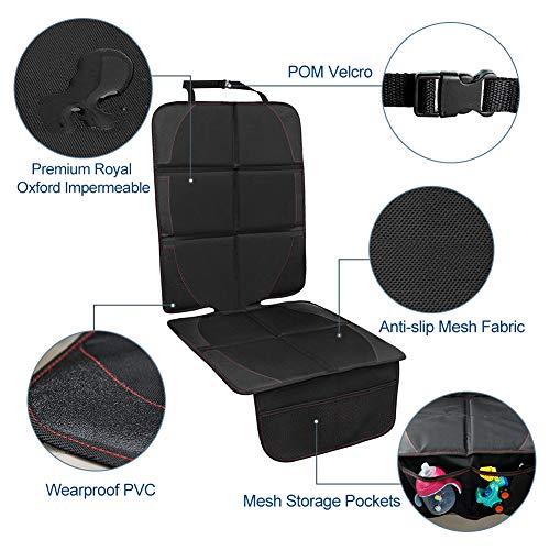 Imagen para Protector de asiento de coche - Premium cubierta Isofix por asiento delantero y trasero con bolsillo y tamaño universal - Funda impermeable protegida de bebé coche contra daños/polvos/líquidos/pelos