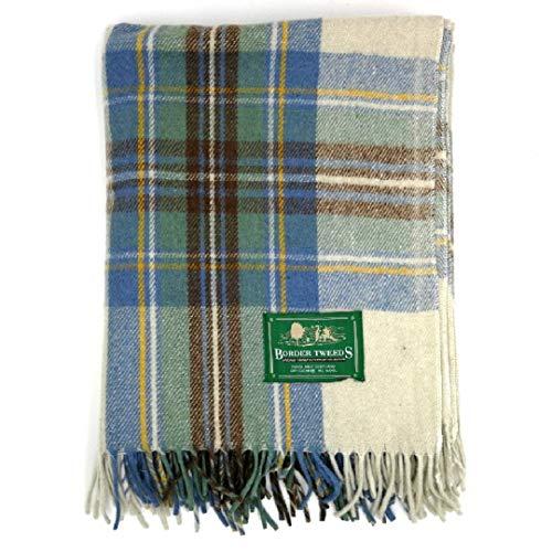 tweedmill Tartan Überwurf Decke–Lammfell, Wolle und Wollgemisch, Muted Blue Dress Stewart Tartan, 55 x 79 Inch