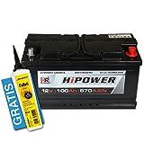 HR HiPower Autobatterie 12V 100Ah inkl. Polfett ersetzt 88 90 92 95 Ah