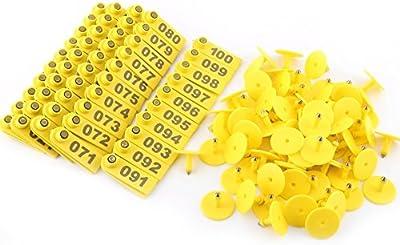 Plástico número 1-100 ganado de la etiqueta de oído para cabra oveja cerdo Cow Animals conjunto de 100 - amarillo