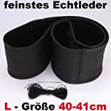 "Lenkradbezug schwarz ""L"" echt Leder 40-41 cm zum Schnüren Lenkrad"