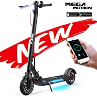 Mega Motion Foldable Electric Scooter with APP, Scooter Dual Skate Braking System for Adults (Black- FBA)