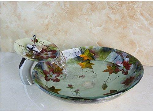 Gowe fiore dipinto bacino ciotola lavabo da appoggio stile lusso vetro temperato lavello ciotola