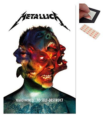 Confezione - 2 Articoli - Metallica Programmati Per Self-Destruct Copertina Dell'Album Poster - 91.5 x 61cms (91.4x61cm) e un Set di 4 Cuscinetti Adesivi Riposizionabili Per Facile Fissaggio a Parete