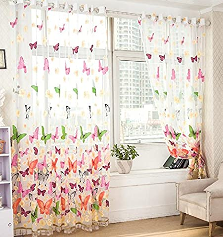 Elegantes Blumen Tüll Tür Fenster Vorhang Drapieren Panel Sheer Schal Valances 40 * 106 Zoll