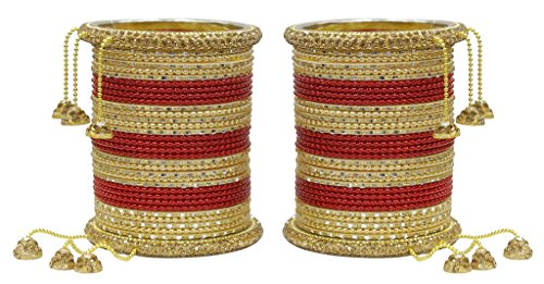 Muchmore Red Metal Punjabi Wedding Bangle Set For Women(Set Of 64 )