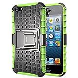 iPhone 5S Hülle, iDoer Silikon TPU Schutzhülle Schutz Handy Stoßfest Hüllen Etui Hybrid Handyhülle Das Bumper Case für Apple iPhone 5 5S SE mit Ständer - grün
