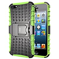 iPhone 5 Case,Impact Tough Rugged Heavy Duty ShockProof Hybrid Kickstand Bumper Protective Bag Cover Case With Stand For Apple iPhone 5 5S SE - Green