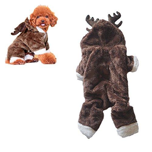 leidung Cute Rentier Hund Weihnachten Kostüm Elk Hundebekleidung Warm mit Kapuze für Teddy, Yorkshire Terrier, Chihuahua, Pommersche französische Bulldogge (M, Elk) (Kostüme Für Französische Bulldoggen)