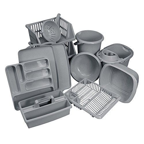 CrazyGadget® 11PC Kitchen Essentials Bumper Plastic Kitchen Starter Sets. Kitchen & Home Plastic Cleaning & Storage Accessories Utensils for First Homes, New Homes, Students - Silver