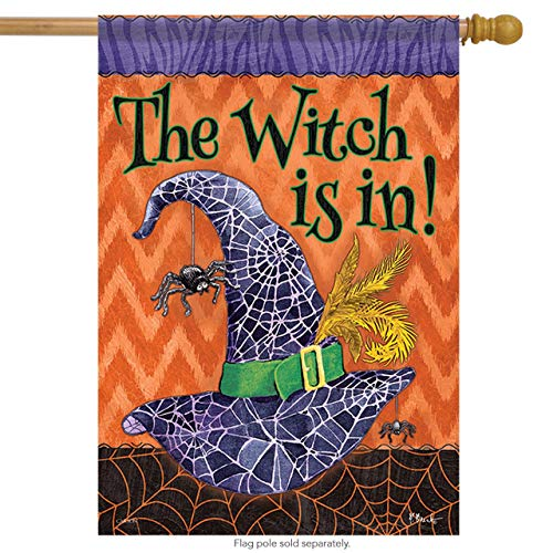 CHKWYN The Witch is in Halloween House Flag Spider Web Double Sided for Party Outdoor Home Decor Size: 28-inches W X 40-inches H
