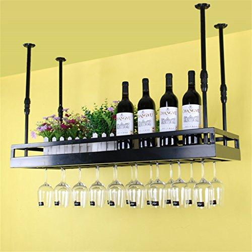 JIA JIA HOME- Decken-Weinregale an der Wand befestigte hängende Wein-Flaschen-Halter-Metalleisen-Weinglas-Gestell-Becher-Stemware-Zahnstangen Weinlese-Art-kreative Stab-Dekoration-Anzeigen-Regal 30-60cm justierbare Höhe - verschiedene Größen verfügbar ( Farbe : Schwarz , größe : L100*W35cm ) (Paletten-weinregal, Wand-montiert)