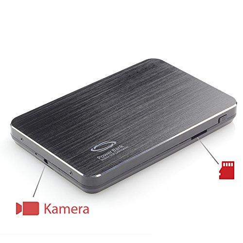 Versteckte Kamera-tasche (Nanotrix® LotusHD S2 Black Edition versteckte Powerbank Kamera mit Bewegungsmelder - getarnte mobile Überwachungskamera Spycam)
