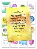 Postkarten Set LEBEN, LIEBE, MOTIVATION mit Umschlag - 16 hochwertige Sprüche Karten / Zur Hochzeit / Als Geschenk / Für Freunde / Postkarten