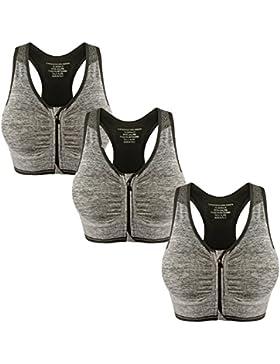 Libella Mujer Sujetador Deportivo Push Up Bustier Con Amplio Correas Fitness Yoga Camisetas Sin Mangas 3714