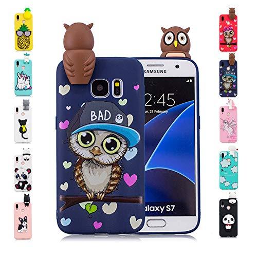 it Samsung Galaxy S7 Hülle Schwarze Blaue Eule 3D Muster Design Etui Ultra Slim Dünn Cover Transparent TPU Soft Silikon HandyhüLle Tasche Bumper ()