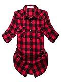 OCHENTA Blusen Damen Mittellangarm Aufkrempelnd Plaid Flanellhemd C056 Rot Schwarz Etikett L - EU XS/S /EU 34