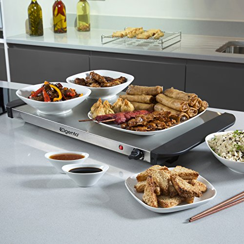 51dtJ cWsCL. SS500  - Elgento Three Tray Buffet Server and Plate Warmer with Keep Warm Function, Adjustable Temperature Setting, 3 x 1.2 Litre…