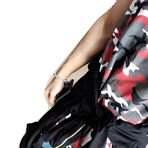 Camicia da Uomo Canotta Estesa da Yying Camouflage Uomo Streetwear Rosso