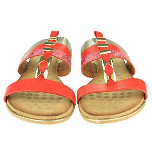 Femmes Dames T-Bar Slip ON Étourdissant Plage Open Toe Été Casual Confort Plat Sandales Chaussures Taille Rouge