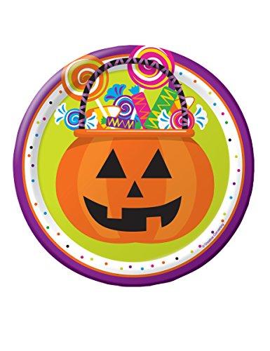 8 Petites assiettes en carton Trick or Treat Halloween 18 cm - taille - Taille Unique - 235979