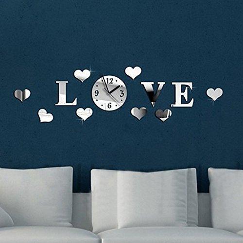 Tofern 3d fai da te splendido orologio da parete adesivi removibile specchio argento murales decal casa soggiorno camera da letto decorazione (cuore)