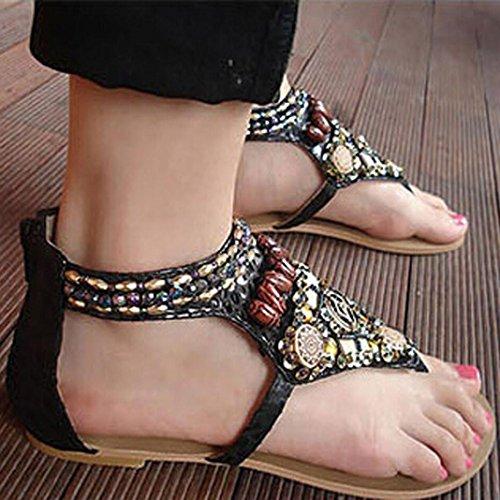 Fulltime® Femmes Fashion Style ethnique Bohemian perlé Thong à Rome avec Sandals Beach Noir