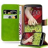 Cadorabo Hülle für LG G2 - Hülle in Gras GRÜN – Handyhülle im Luxury Design mit Kartenfach und Standfunktion - Case Cover Schutzhülle Etui Tasche Book