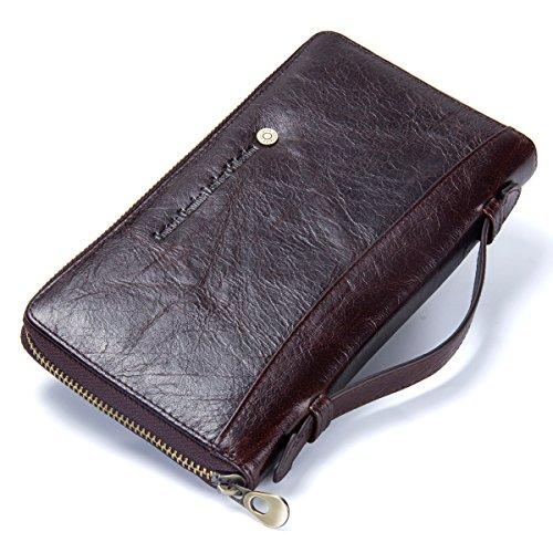 Contacts Echt Leder Herren Karte Pass Wallet Reißverschluss Geldbörse lange Handytasche (Kaffee) - Brieftasche Snap-kupplung Geldbörse
