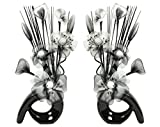 Flourish  - Nero Vaso Con Fiori Finti in Tessuto e Fil di Ferro, 32 cm, Coppia Corrispondente, Decorazioni per le Casa, Colore: Nero/Bianco
